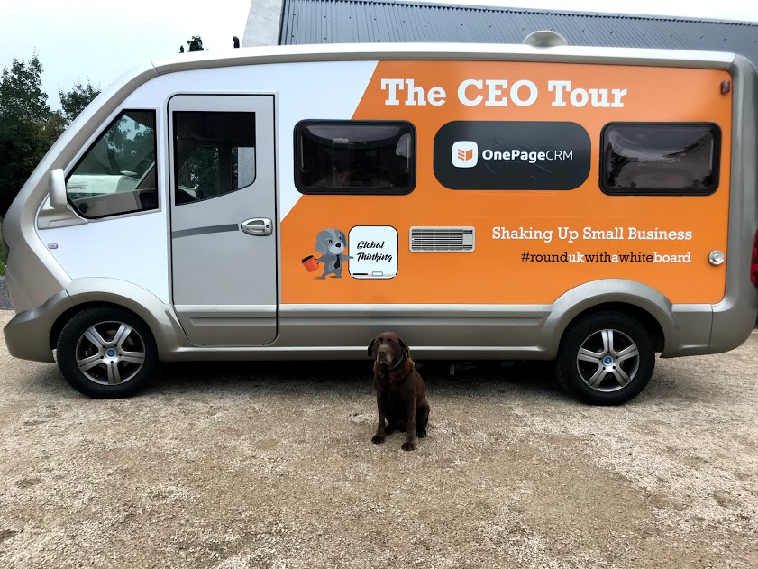 The CEO Tour Camper & dog