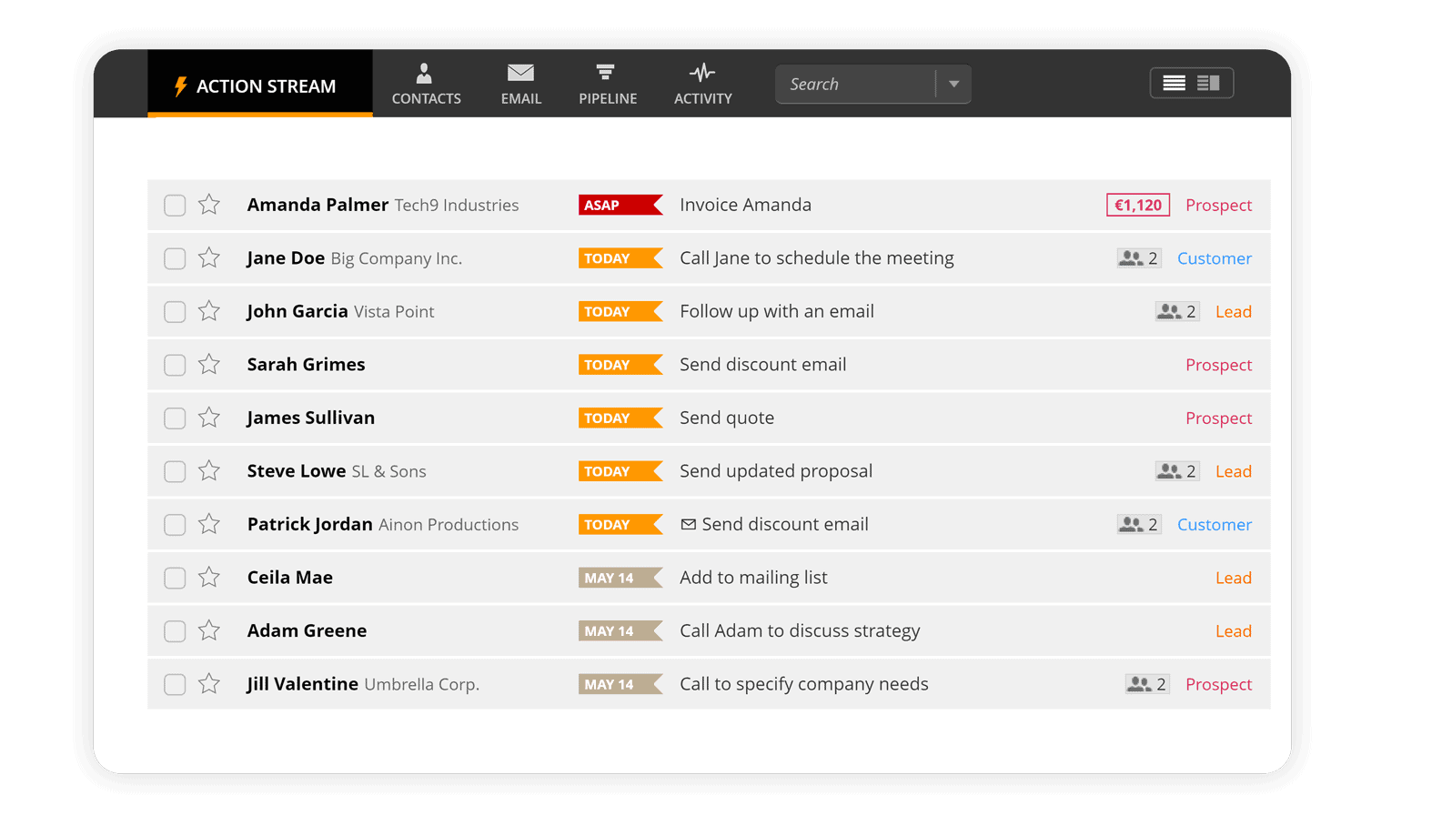 Action Stream in OnePageCRM for startups