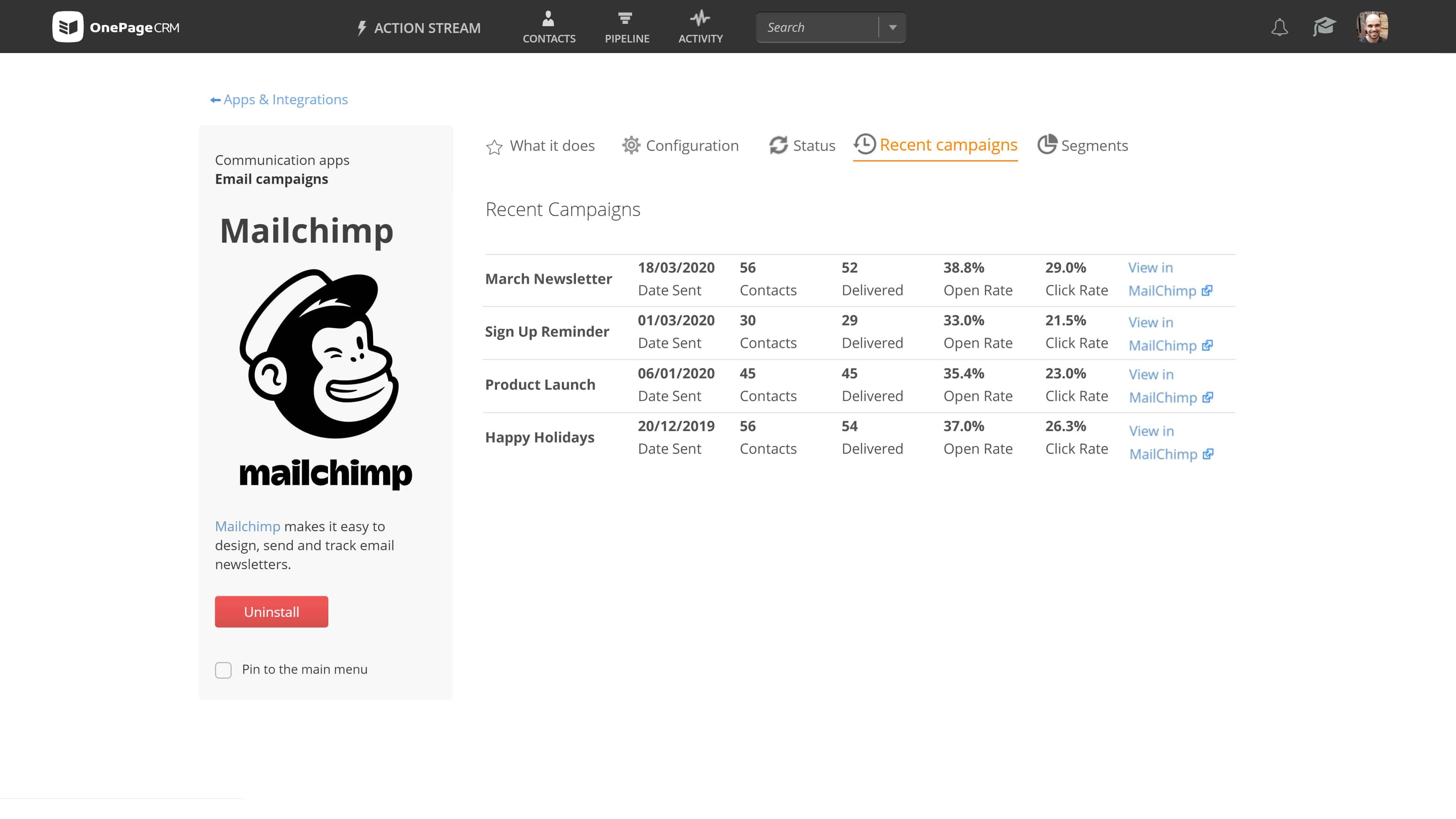 OnePageCRM Mailchimp CRM integration