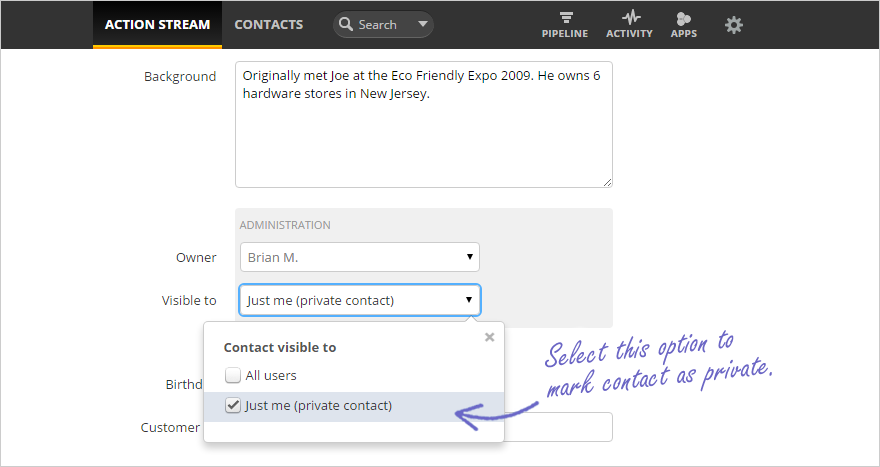Assign private contact screenshot