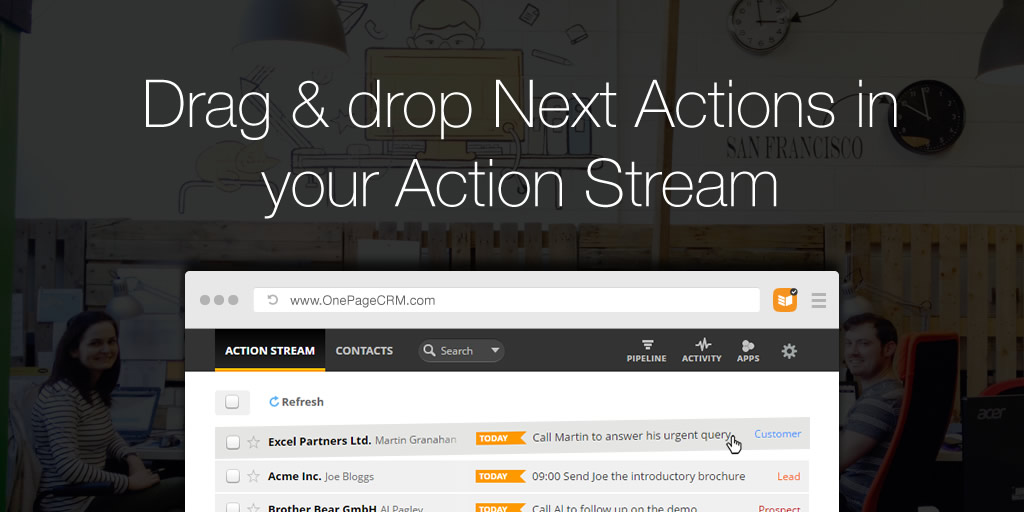 Drag & drop Next Actions in your Action Stream