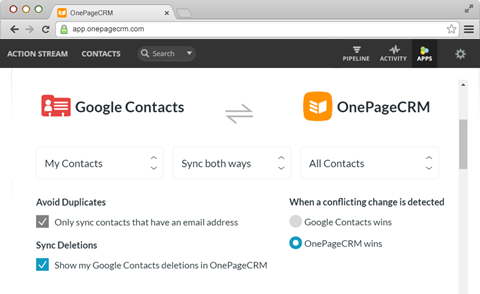 PieSync - Google Contacts Screenshot