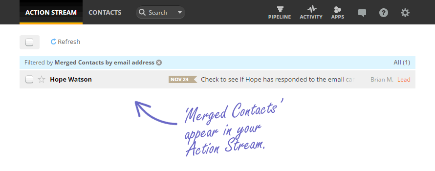 Merged contacts appear in your Action Stream