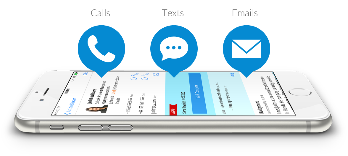 Make calls, texts and emails from the CRM