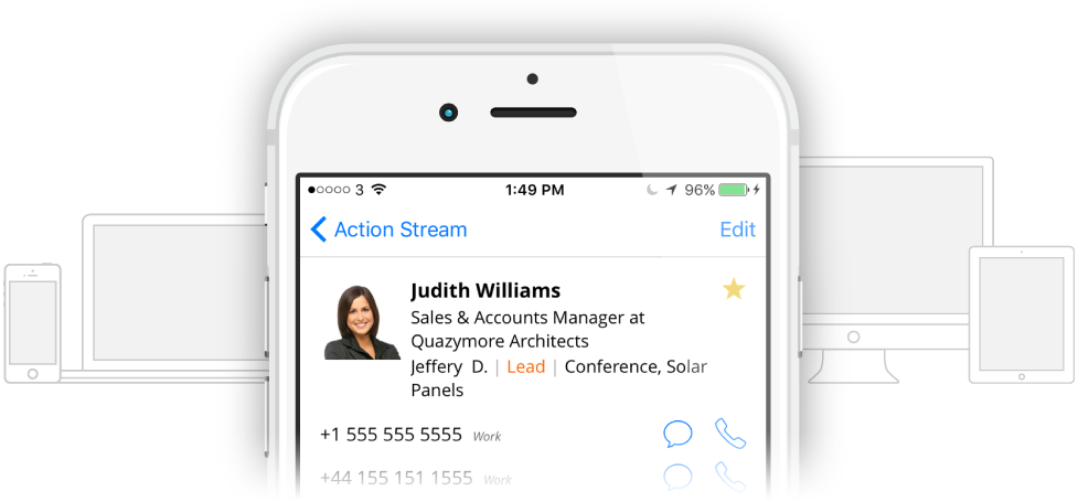 Sync CRM contacts, notes and deals across all devices and apps.