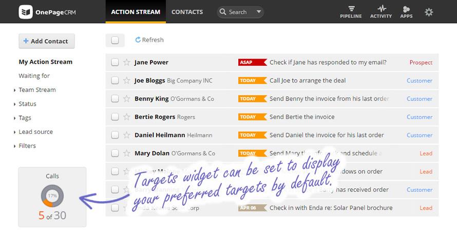 OnePageCRM's Targets Widget