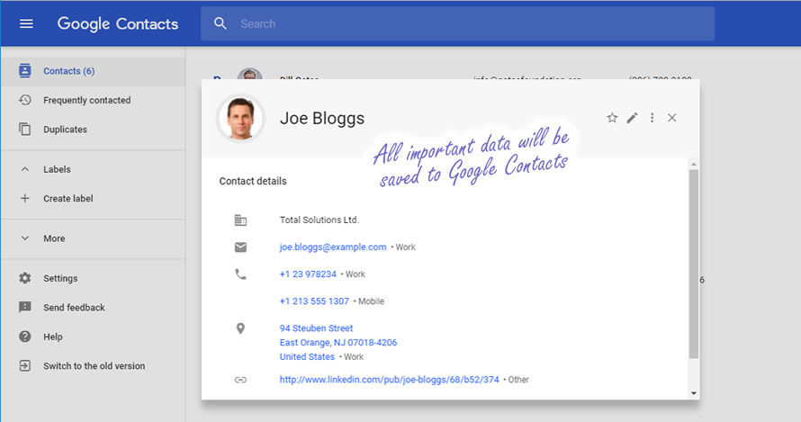 Contact view in Google Contacts