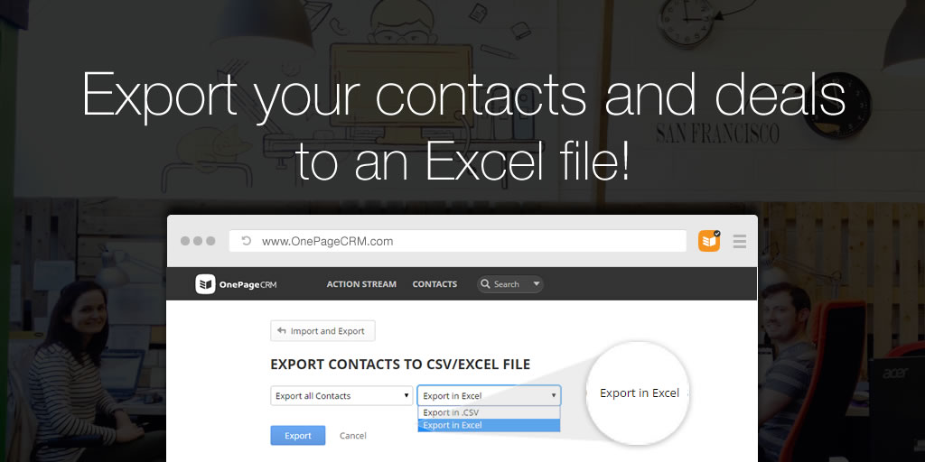 Export contacts and deals to an Excel from OnePageCRM