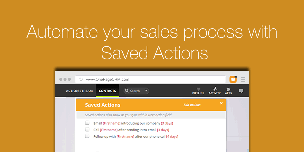 Saves Action templates OnePageCRM