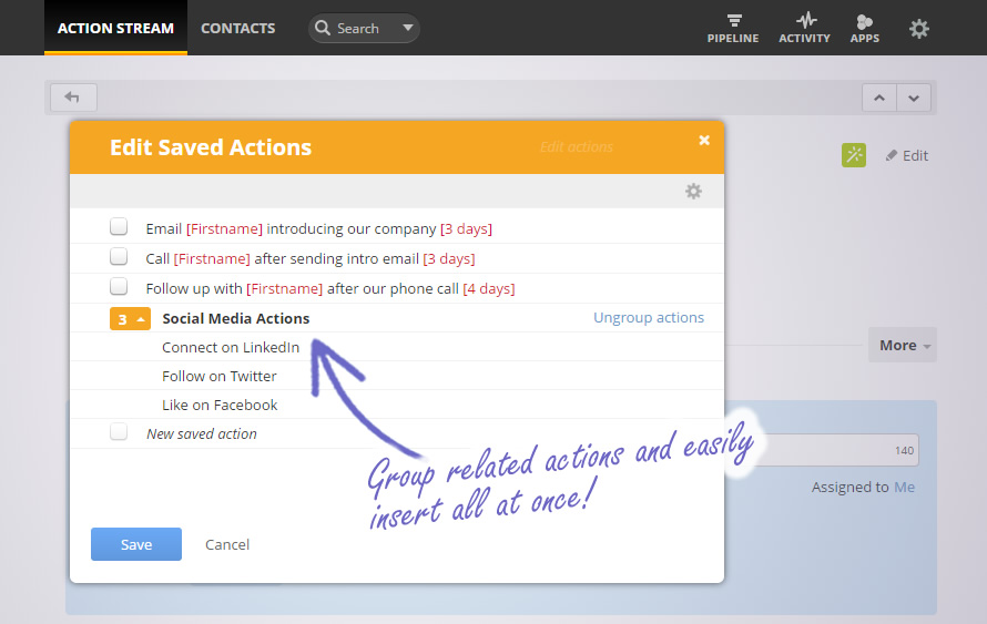 Automate your sales process with Saved Actions