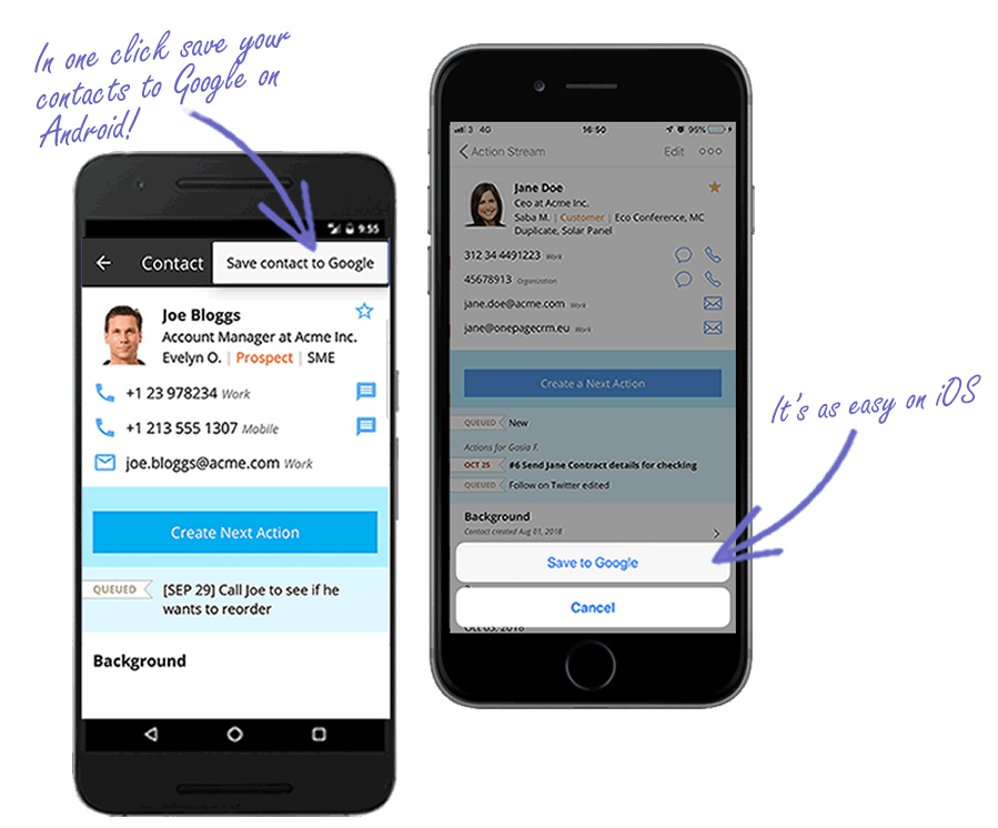 Save to Google Contacts from mobile app