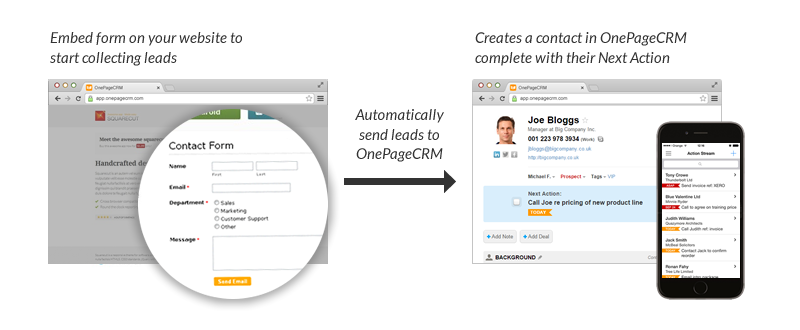 MailChimp Forms seamless integration with OnePageCRM