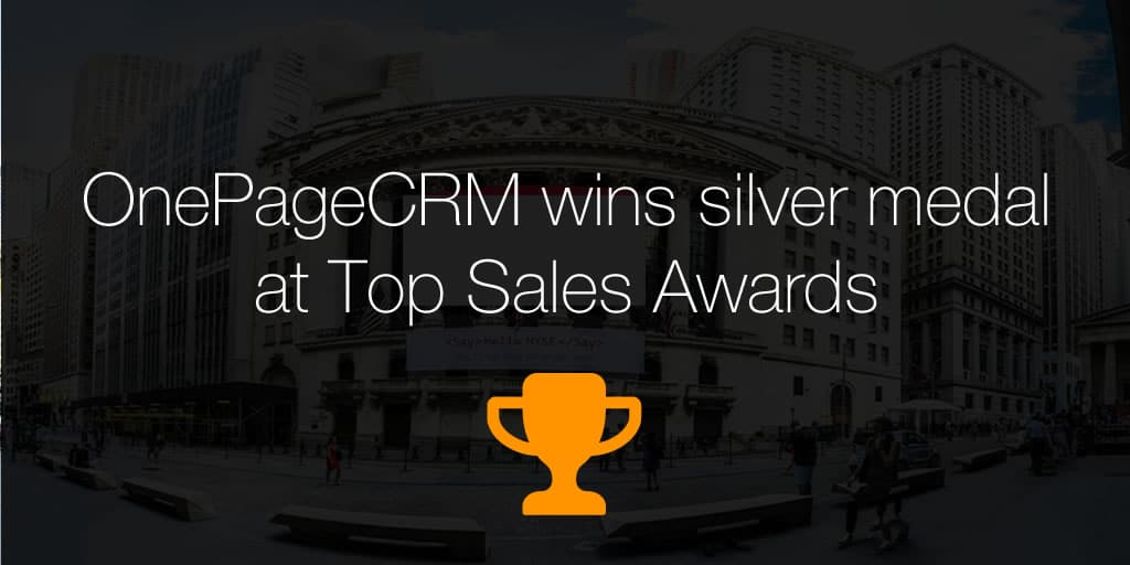 OnePageCRM wins silver medal at Top Sales Awards