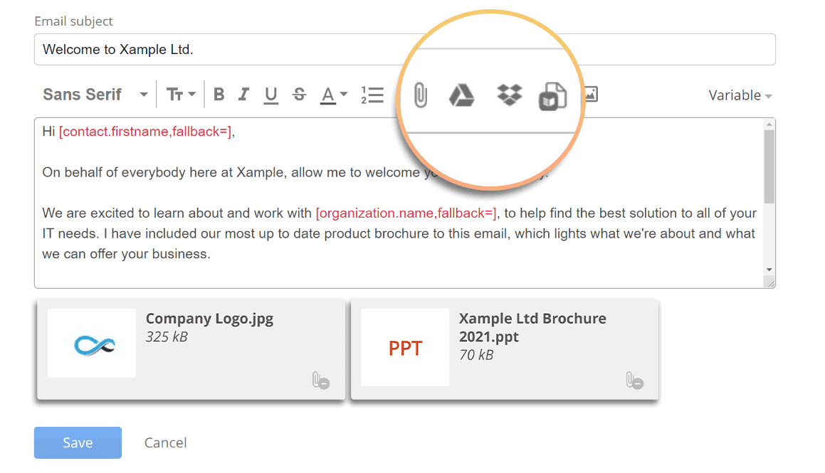 How to attach a file from local device, Google Drive, or Dropbox when composing an email template in OnePageCRM
