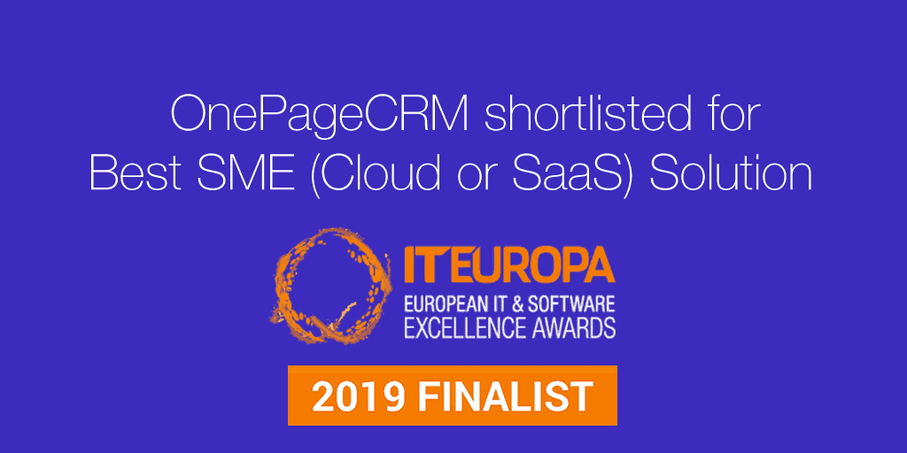 OnePageCRM shortlisted for Best SME (Cloud or SaaS) Solution 2019 at IT Europa Awards