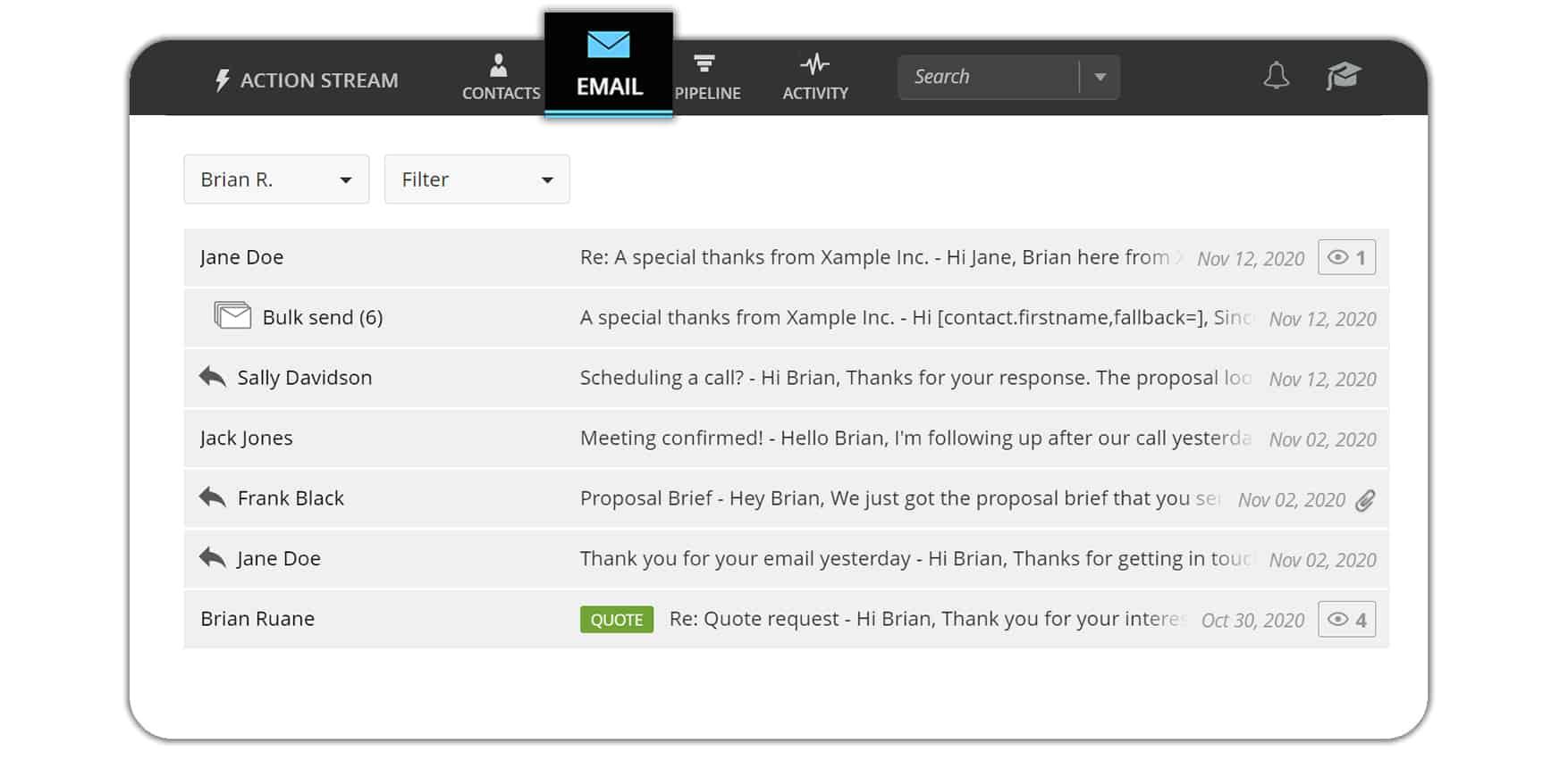 Email crm hub