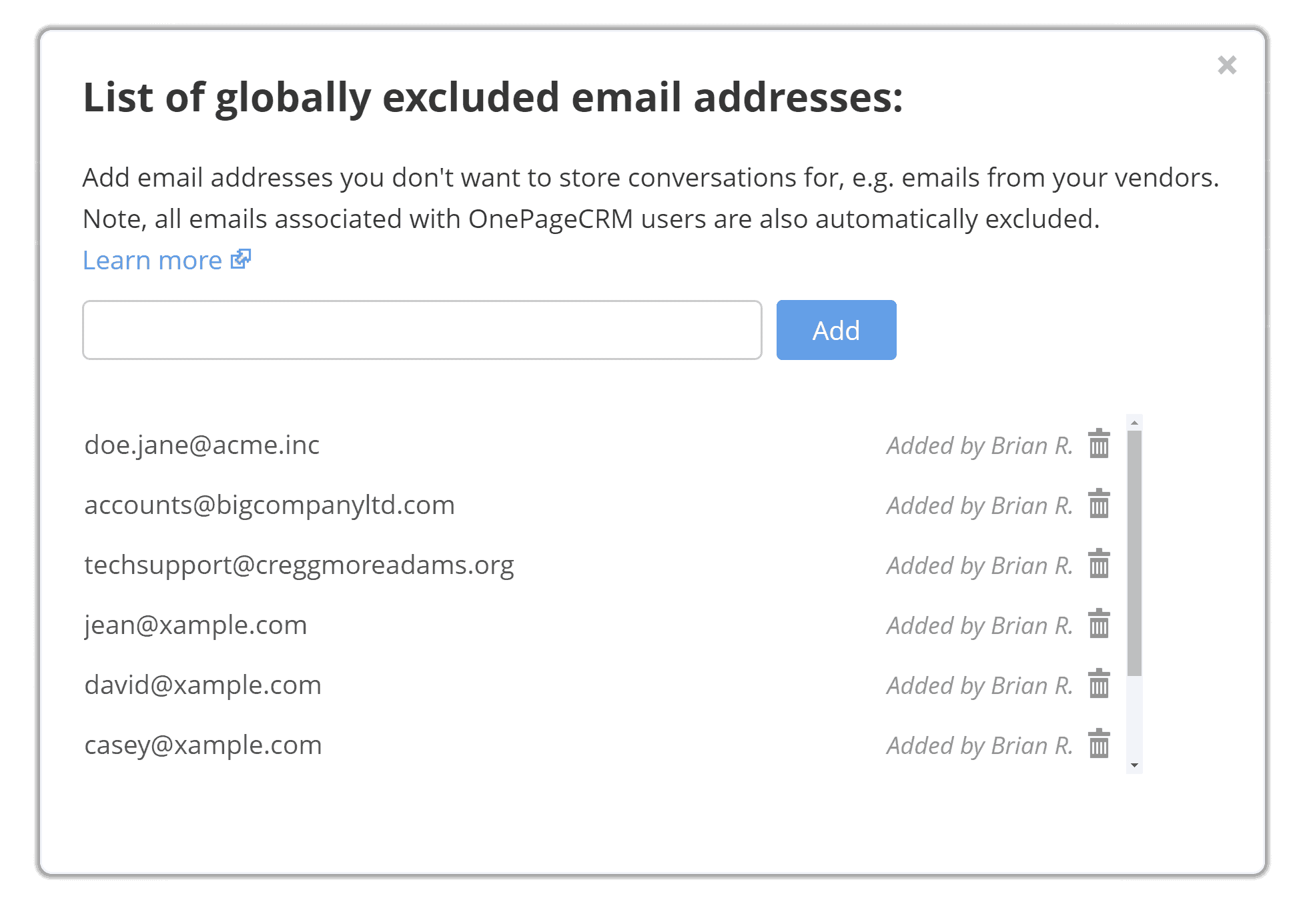 OnePageCRM email privacy
