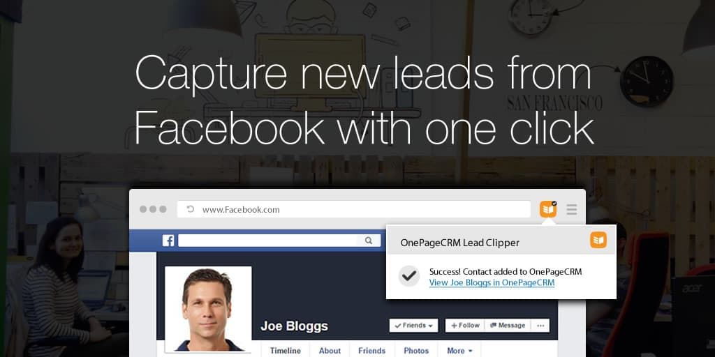 Capture new leads from Facebook with one click