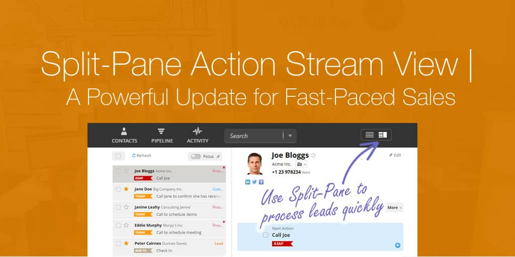 Split-Pane Action Stream View | A Powerful Update for Light-Touch Sales