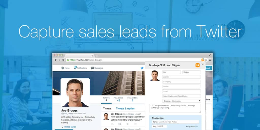 Capture sales leads from Twitter with the OnePageCRM Lead Clipper