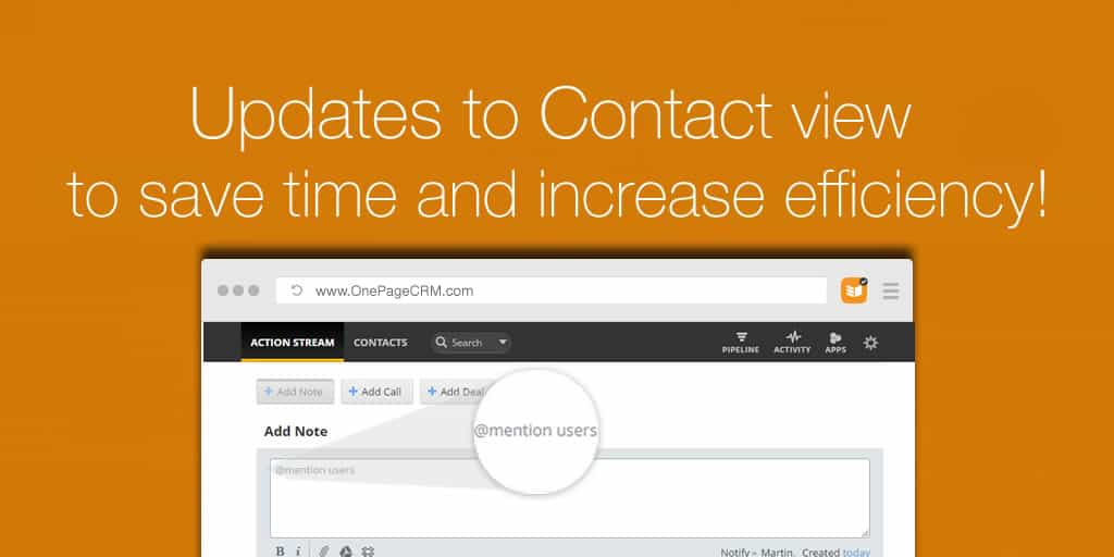 Updates to Contact view to save time and increase efficiency