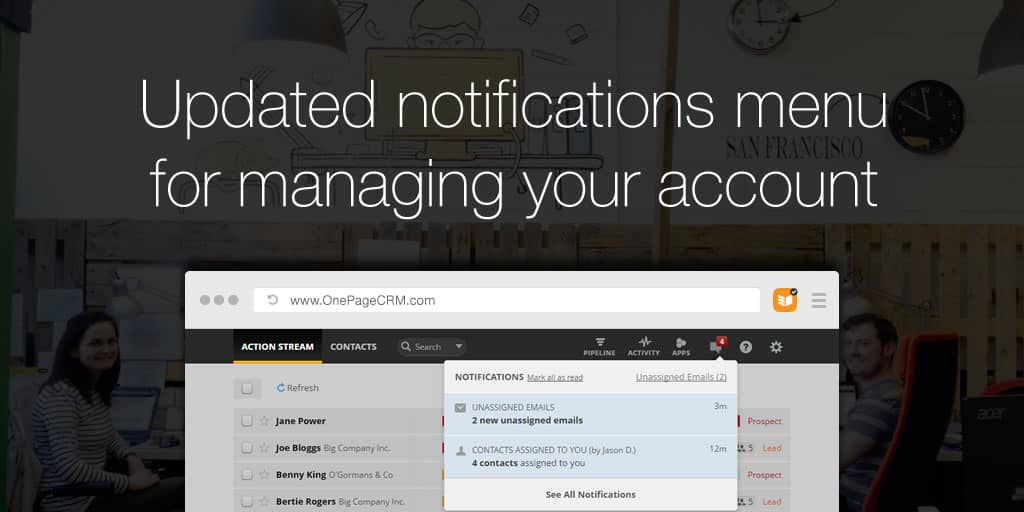 Updated notifications menu for managing your account
