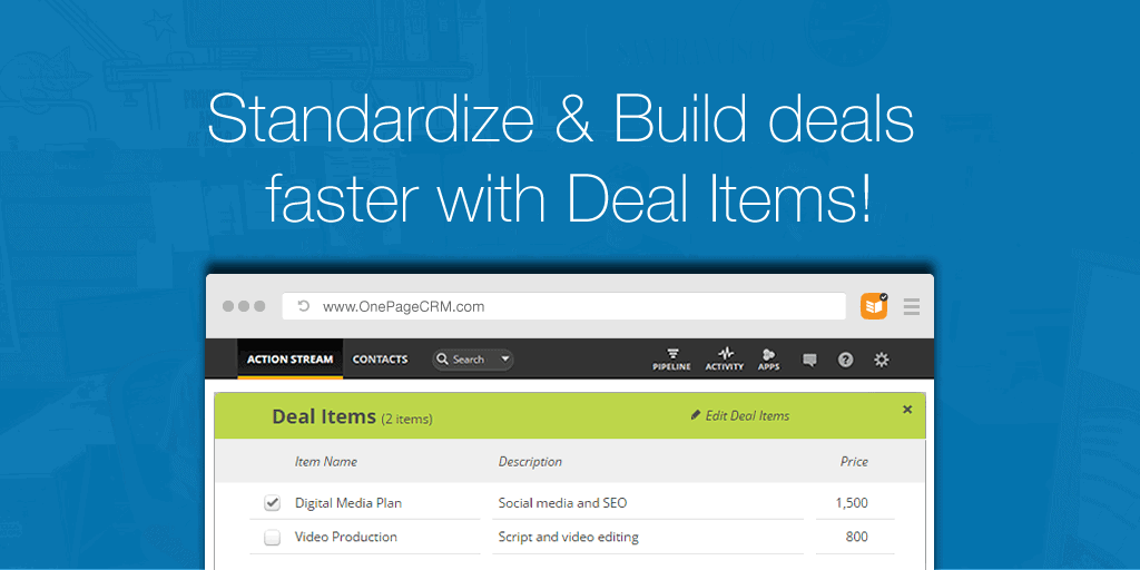 Standardize and Build deals faster with Deal Items!