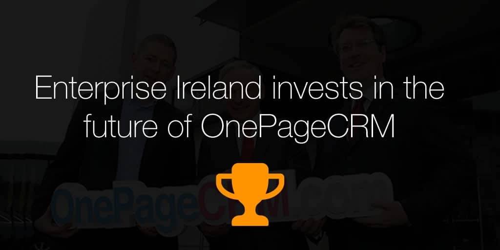 PRESS RELEASE: €575,000 investment to create 12 jobs at Galway company OnePageCRM