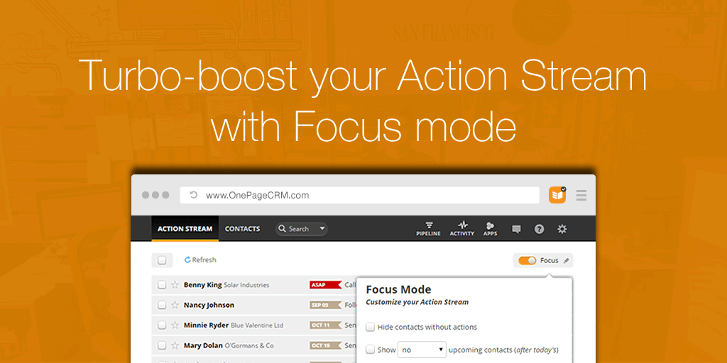 Turbo-boost your Action Stream with Focus Mode
