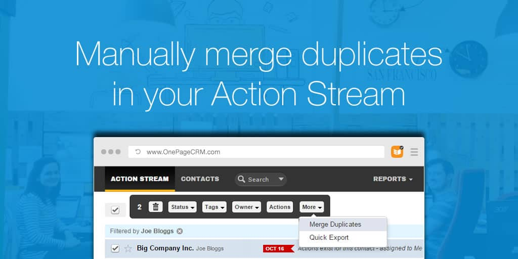 Manually merge duplicates in your Action Stream