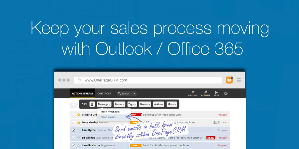 Keep your sales process moving with Outlook / Office 365
