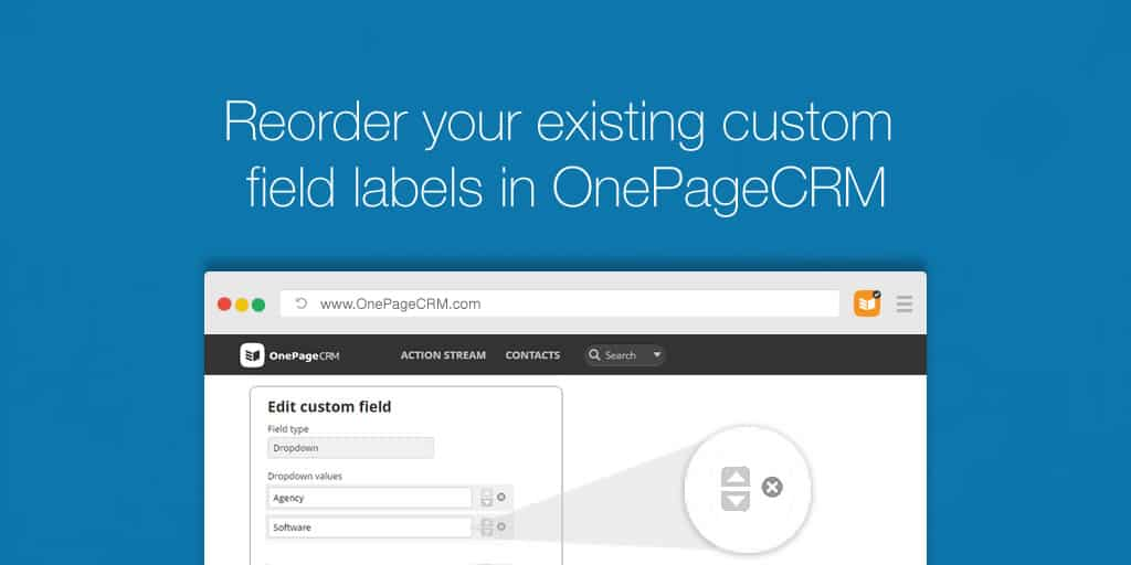 Re-order custom fields in OnePageCRM