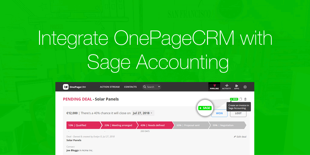 Integrate OnePageCRM with Sage Accounting to quickly create invoices