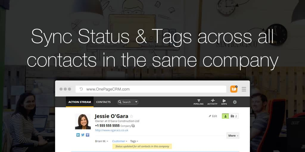 Sync Status & Tags across all contacts in the same company